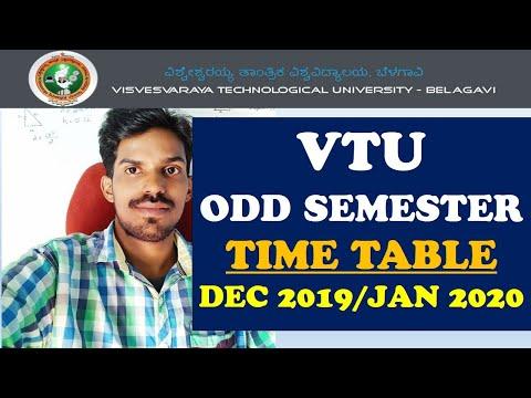 VTU UPDATE : DEC2019/JAN 2020 EXAM TIME TABLE|VTU ODD SEMESTER EXAM TIME TABLE