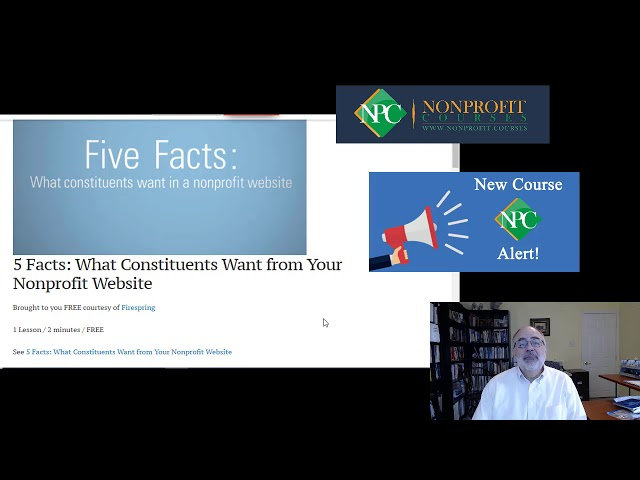 Nonprofit.Courses New Course Alert: Five Facts: What Constituents want from Your Website