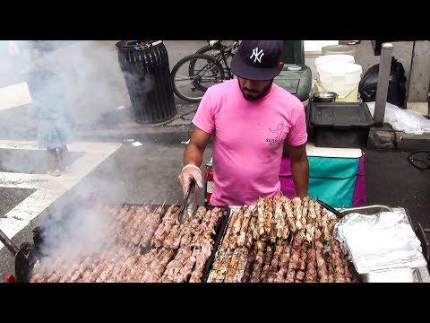 New York Street Food. Many Huge Grills in Manhattan Streets