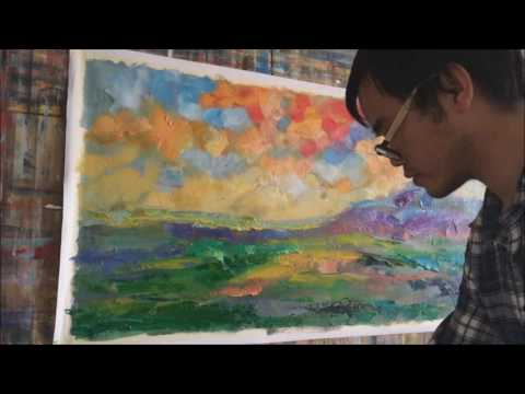 Abstract Landscape Painting (Painted with a Palette Knife) by George Miller
