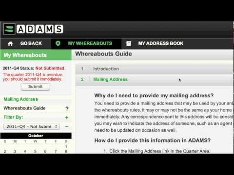 ADAMS 3.0 - Whereabouts Module