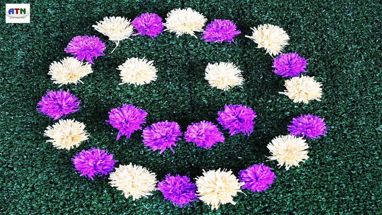 Beautiful Smile Of Yell Purple Crepe Paper Dandelions Flowers