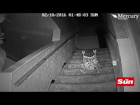 Does film of child's buggy falling down stairs prove that The Black Monk exists
