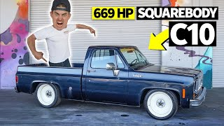 homepage tile video photo for Chevy C10 Work Truck Turned 669hp Party Animal: Zac's Square Body Chopper Hauler
