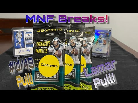 Monday Night Football Breaks! 2018 NFL Playbook Hanger Packs X3 (Lamar Jackson RC!)