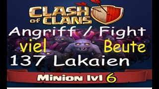 Clash Of Clan Angriff mit 137 Lakaien Level 6 Let's Play mit viel Beute