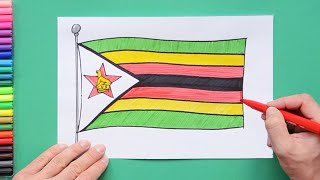 How to draw and color National Flag of Zimbabwe