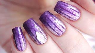 Простой дизайн с лентой и омбре на ногтях
