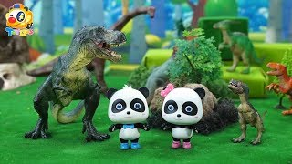 Baby Panda is Chased by Bad Dinosaurs | Look after Baby Dino | Treasure Hunt | ToyBus