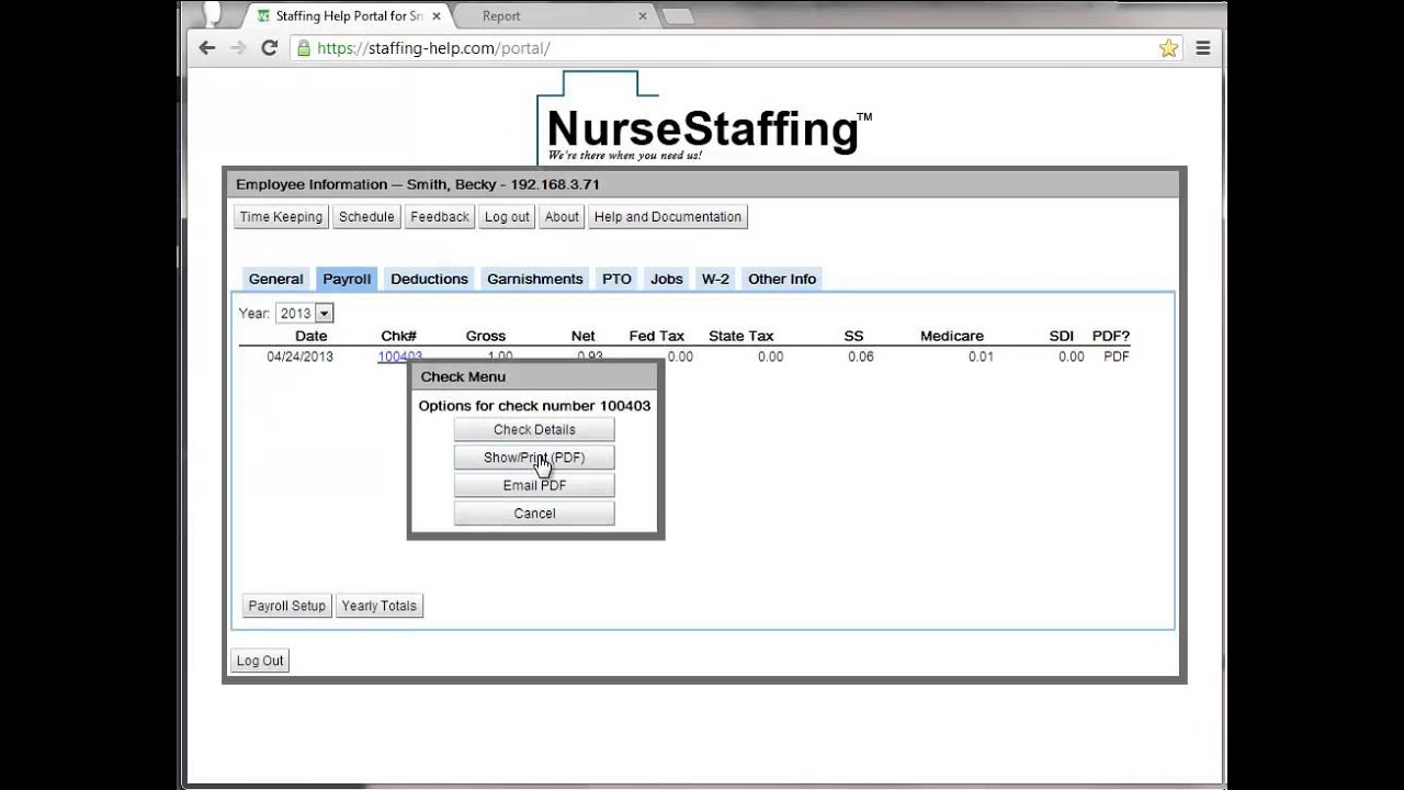 Printing a pay stub from the employee web portal - YouTube