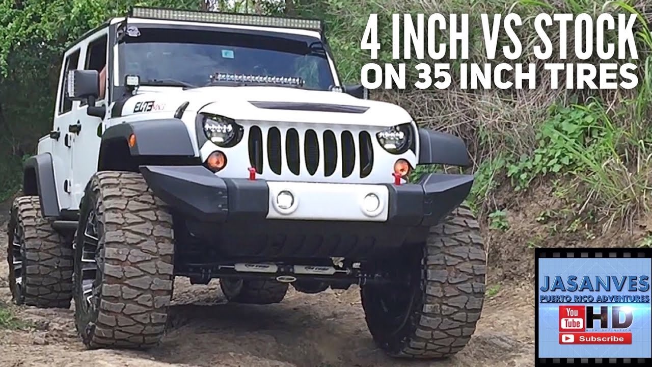 Charming 4 Inch Lift Vs Stock With 35 Inch Tires, Articulation Offroading With Jeep  Wrangler JK   YouTube