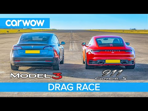 Tesla Model 3 P v Porsche 911 – DRAG RACE *shock result*