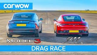 Download Tesla Model 3 P v Porsche 911 - DRAG RACE *shock result* Mp3 and Videos