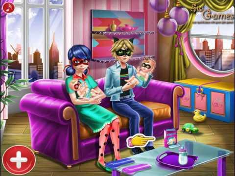 Мультик игра Леди Баг и Супер Кот ухаживают за близнецами (Ladybug Twins Family Day)