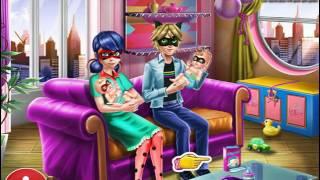 Мультик игра Леди Баг и Супер Кот ухаживают за близнецами (Ladybug Twins Family Day)(Играйте в игру