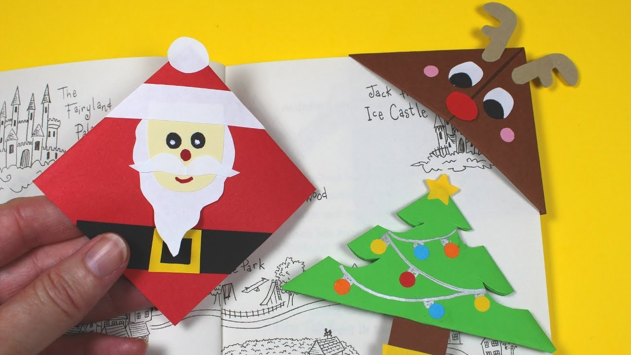 3 Easy Christmas Paper Bookmarks Christmas Crafts For Kids Youtube