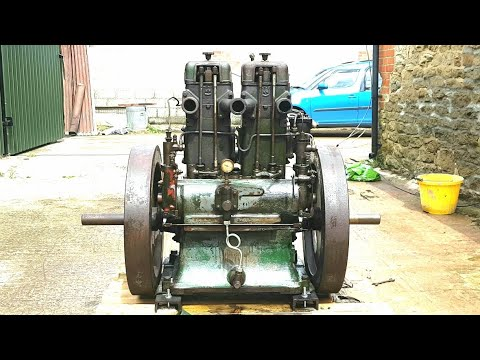 Lister CS 10/2 original twin stationary engine first start in many years