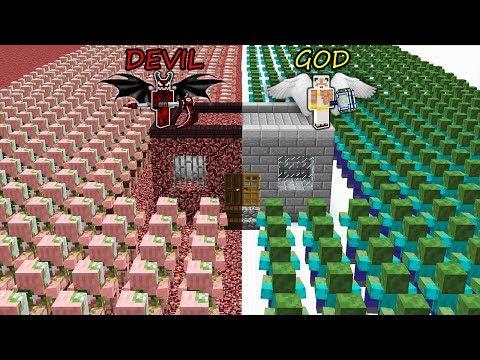 Minecraft Battle: GOD vs DEVIL: ZOMBIE APOCALYPSE vs SECRET BASE in Minecraft MAP!