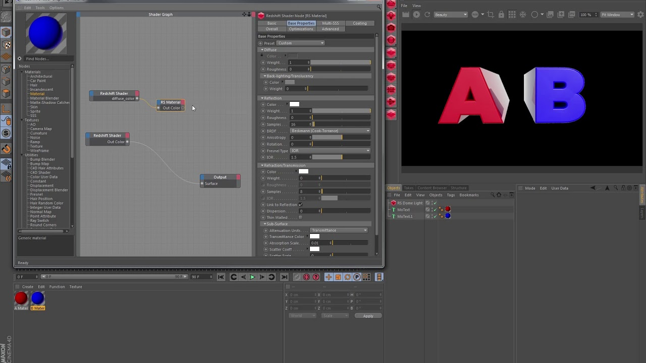 Material referencing in Redshift for Cinema 4D (no audio)