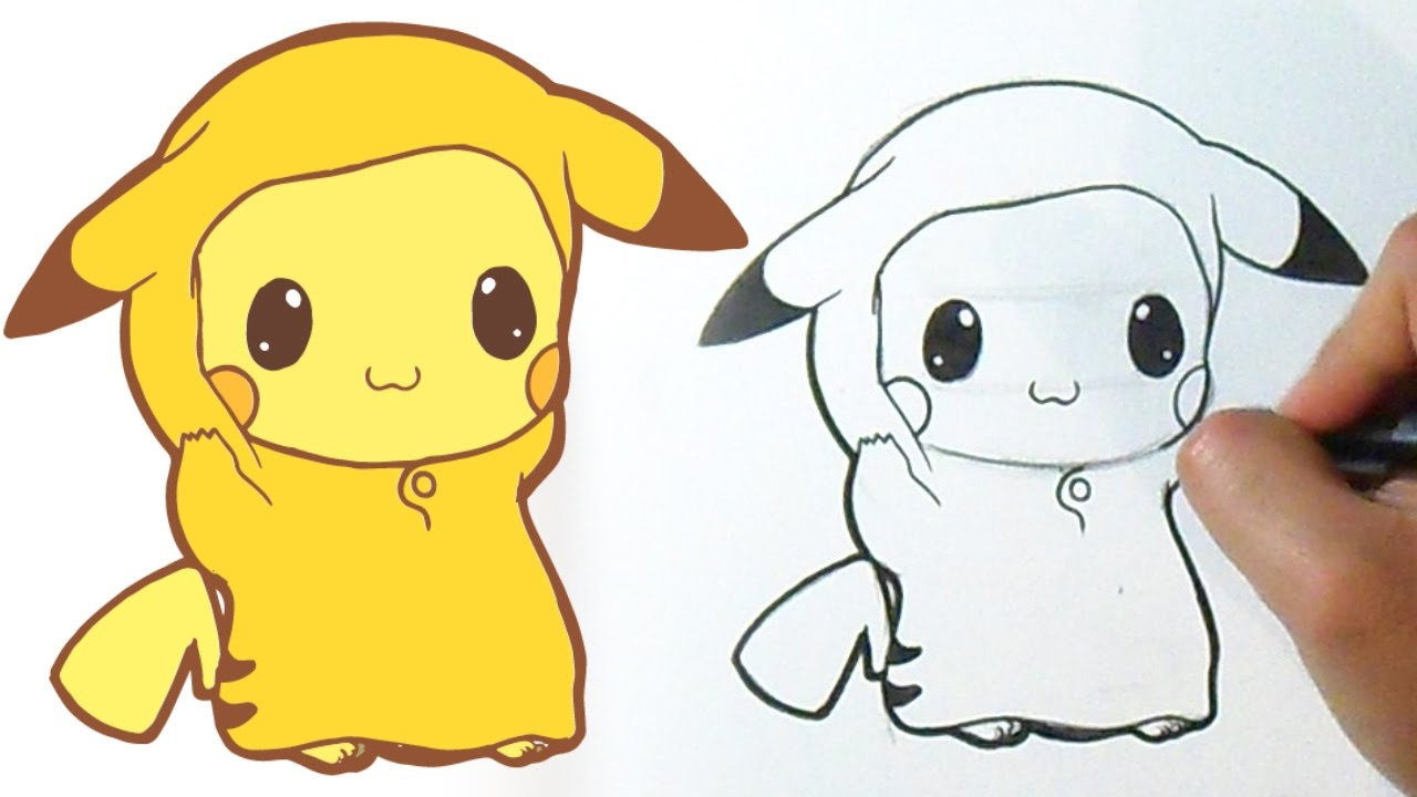 C mo dibujar baby pikachu kawaii youtube - Pikachu kawaii ...