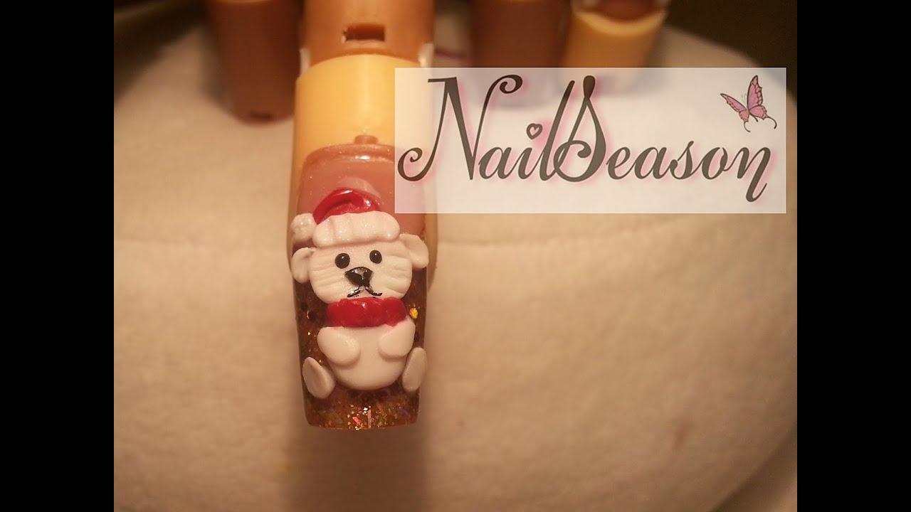 uñas de navidad / osito polar cocacola / uñas navideñas paso a paso 2014 , YouTube