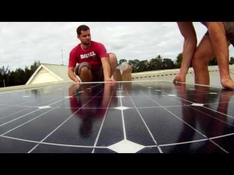 Solar panels for Tonga project - UC Engineering student, Vladimir