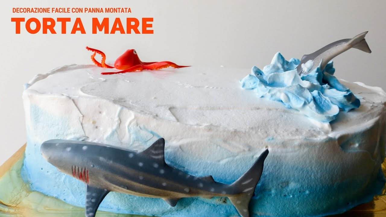 torta un mare di panna decorazione tema mare facile e