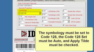 How to Encode a Tab (or Function) in a Code 128 Barcode using the Barcode Generator