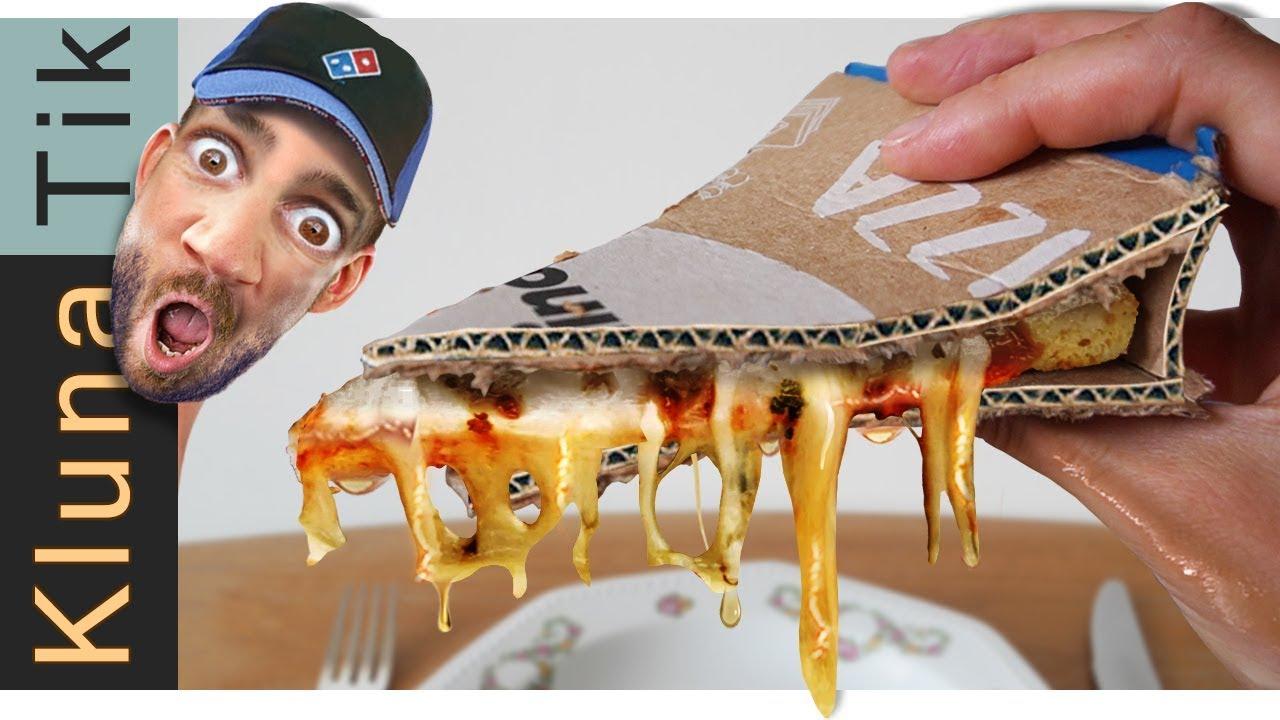 Eating Domino's PIZZA with CARDBOARD!  KLUNATIK ASMR MUKBANG 2019  comiendo pizza con carton