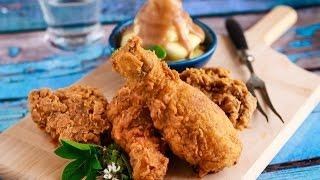 مطبخ اسيا -طريقة عمل  دجاج بروستد (كنتاكي) في المنزل و بطاطس جريفي الجزء الاول