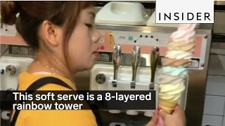This soft serve is a 8-layered rainbow tower