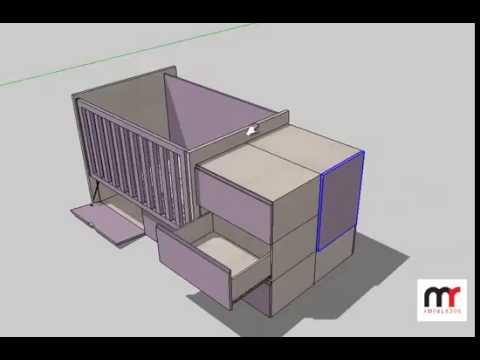 Cama cuna multiuso de una plaza en melamina lila y lino de for Medidas de cama de una plaza