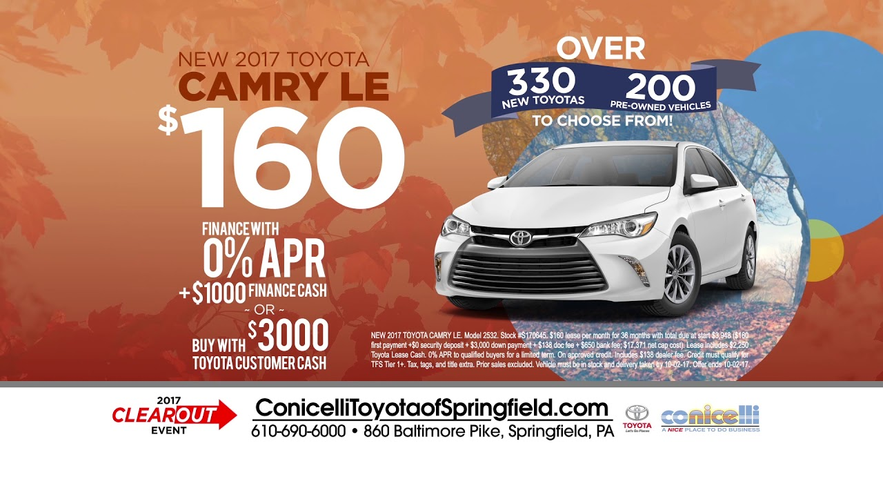160 Month Camry 186 Rav4 At Conicelli Toyota Of Springfield