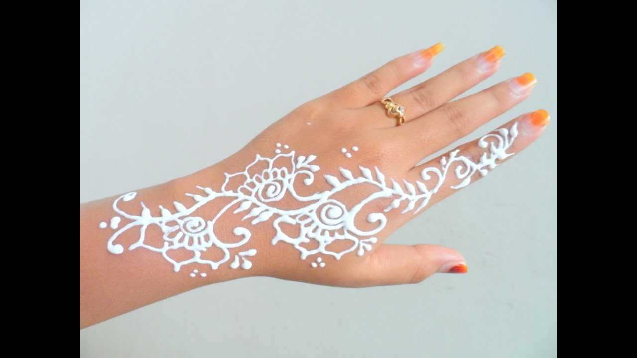 White Henna Simple Henna Design 13 Youtube