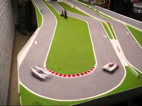 Table top motor racing on the Linford Circuit.  Slot racing without slots.