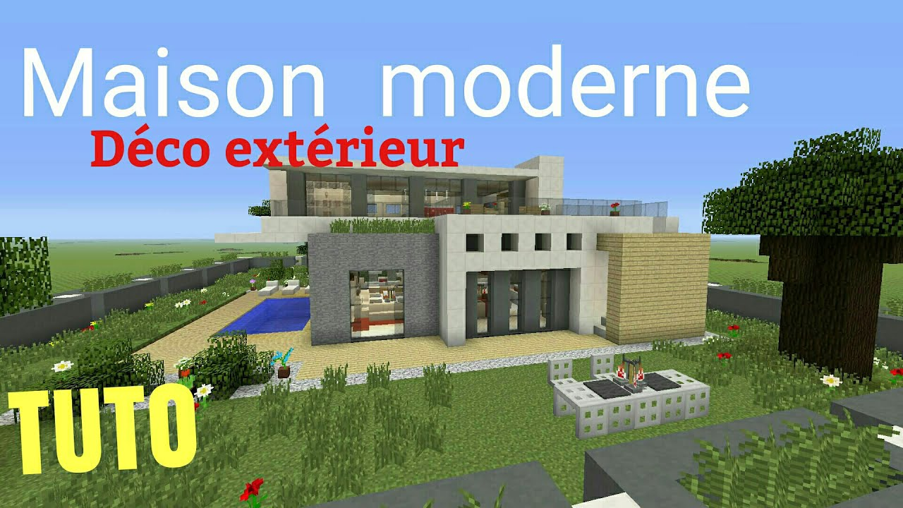 Tuto minecraft maison moderne 3 d co ext rieur ps4 ps3 for Deco maison moderne youtube
