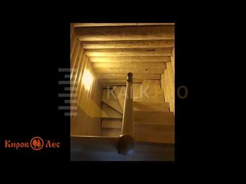 Забежная лестница на 180 градусов - Готовый проект по расчетам строительного калькулятора KALK.PRO
