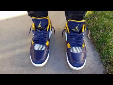 2d7967e6060163 NIKE AIR JORDAN RETRO 4 DUNK FROM ABOVE MIDNIGHT NAVY METALLIC  GOLD LEAF WHITE ON FEET REVIEW HEAT!