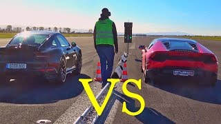 Porsche 911 Turbo S vs Lamborghini Huracan Acceleration SOUND