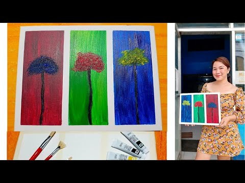 Simple Acrylic Painting Demo / Modern Art / Easy For Beginners
