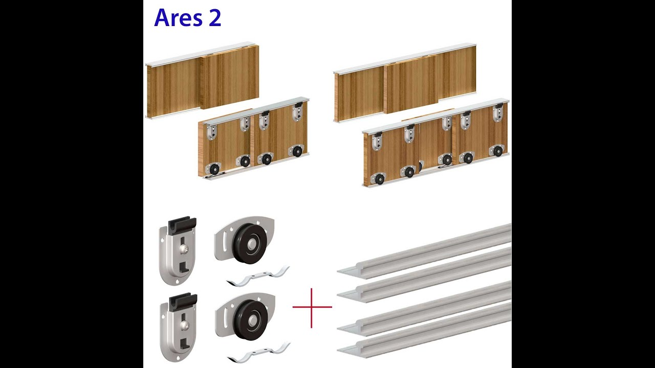 Ares Wardrobe Sliding Door Gear Track Kit For Bottom Rolling Setup