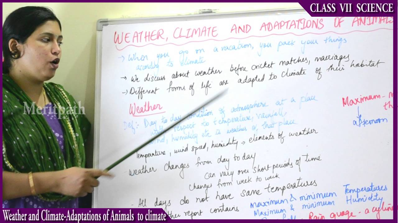 Class 7 Science Weather And Climate Adaptation Of Animals To Climate Part 1