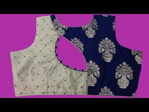 30afe31c57878d two colour blouse design with stone work cutting and stitching |DIY ...
