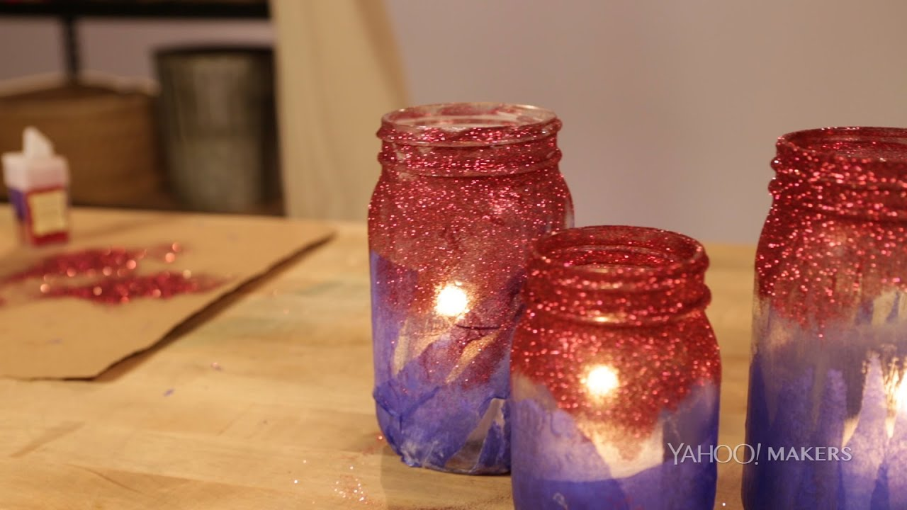 This Patriotic Mason Jar Diy Will Light Up Your Holiday Table This 4th Of July Youtube