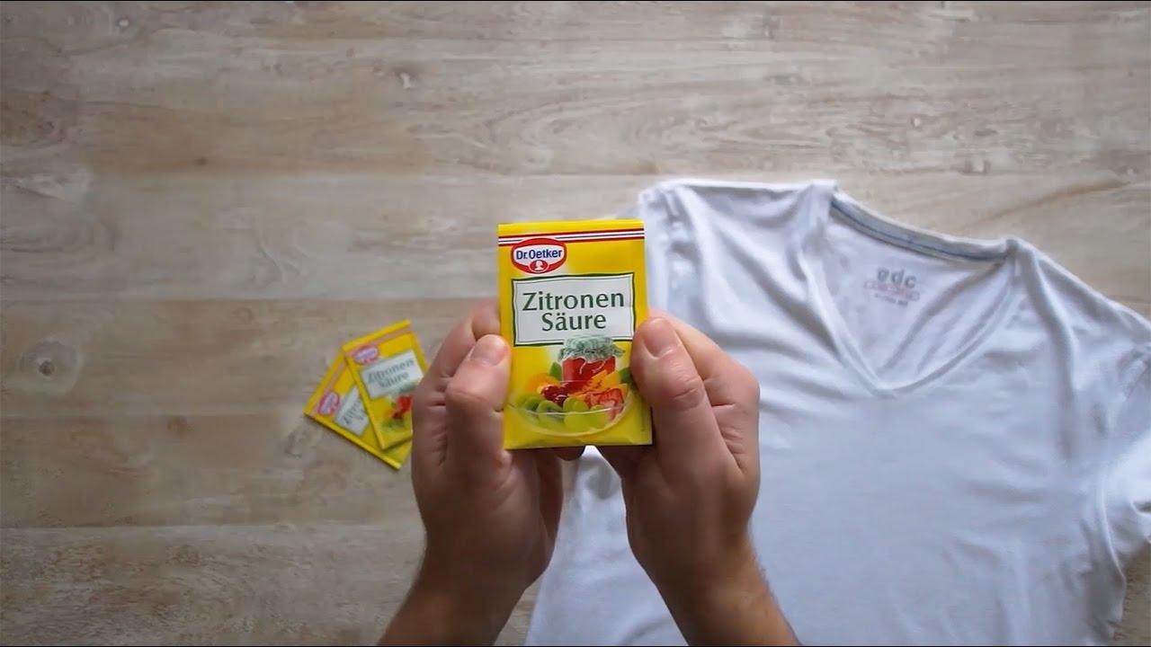 Gelbe Achsel-Flecken aus T-Shirts entfernen - YouTube