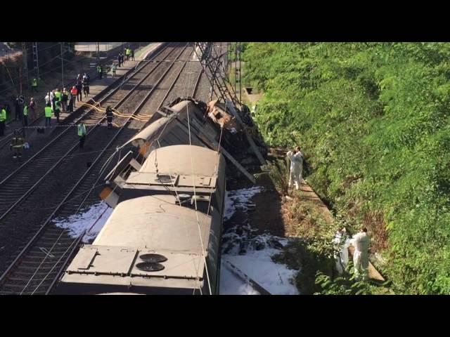 Consternación no Porriño tras o descarrilamento do tren, que deixa catro vítimas mortais
