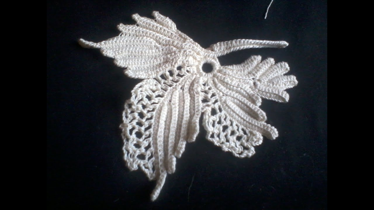 Irish Crochet Lace, Vine leaf, howto - YouTube