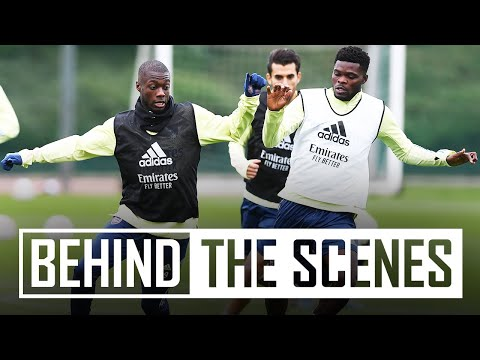 Thomas Partey hits top bins! | Behind the scenes at Arsenal training centre