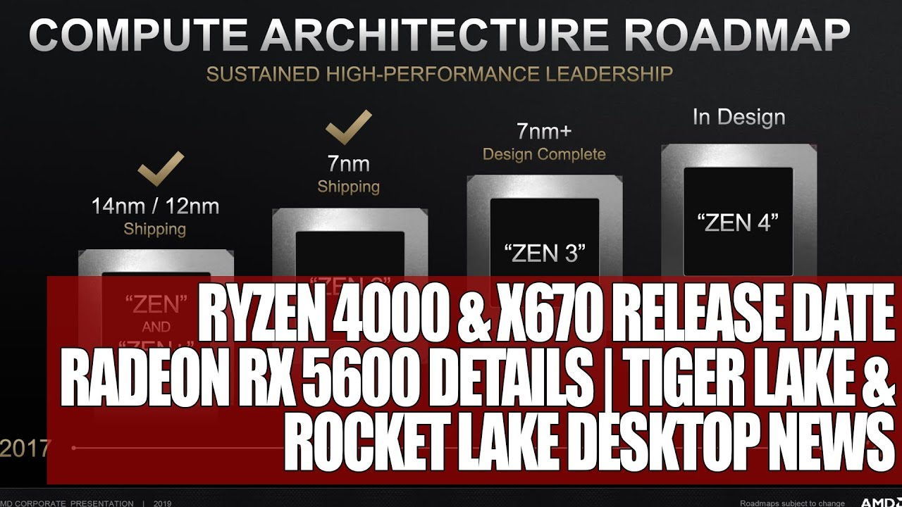Ryzen 4000 X670 Release Date Radeon Rx 5600 Details Tiger Lake Rocket Lake Desktop News Youtube