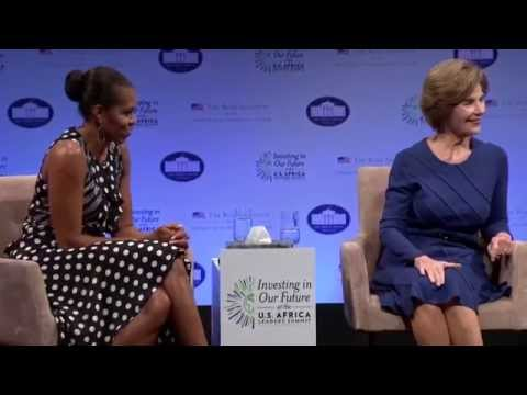 First Ladies Laura Bush and Michelle Obama at Investing in Our Future